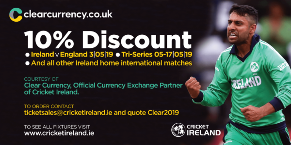 Clear Treasury and Cricket Ireland Ticket Discount